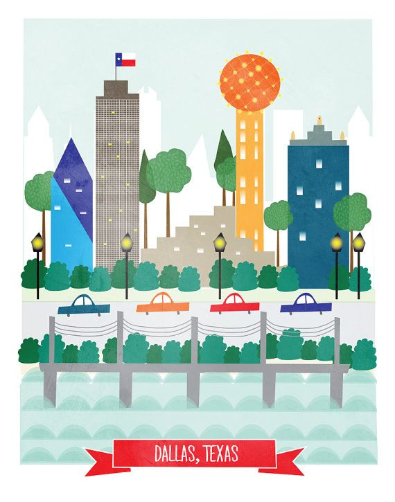 Dallas Texas art print illustration - 11x14 - city art poster Dallas