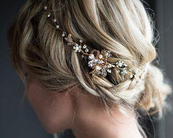 Blume Krone Boho Gold Haar Rebe, Halo Haare wickeln, goldene Haar Kranz, Stirn Band, Gold Hochzeit Haar Rebe, Boho Hochzeit Headpiece -