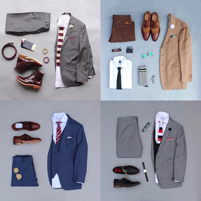 It's time for a recap of my most popular flatlay's the past couple of weeks.  I tried to tag everything but ran out so check out the original photos for all the tags. Which look is your favorite?  #runnineverlong #veryperry #justamenshoe #crosbysquare #harrisonblake #wearlapelpins #charlestyrwhitt #edgeiwear #sprezzabox #otaa #jachsny #josephabboud #eyebuydirect #weekendcasual #skinnytiemadness #lovelylapels #sprezzanyc #ansonbelt
