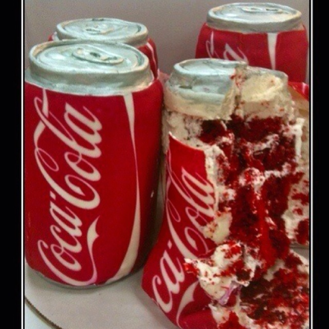 Red velvet coke can cake...does it come in diet?: Idea, Coke Cake, Sweet, Cakes, Food, Red Velvet, Cocacola, Coca Cola Cake, Dessert