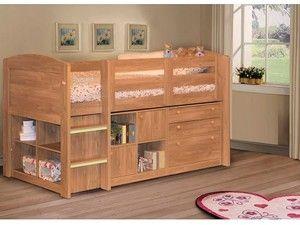 Oak Effect Neptune Mid Sleeper Bed WIth Storage