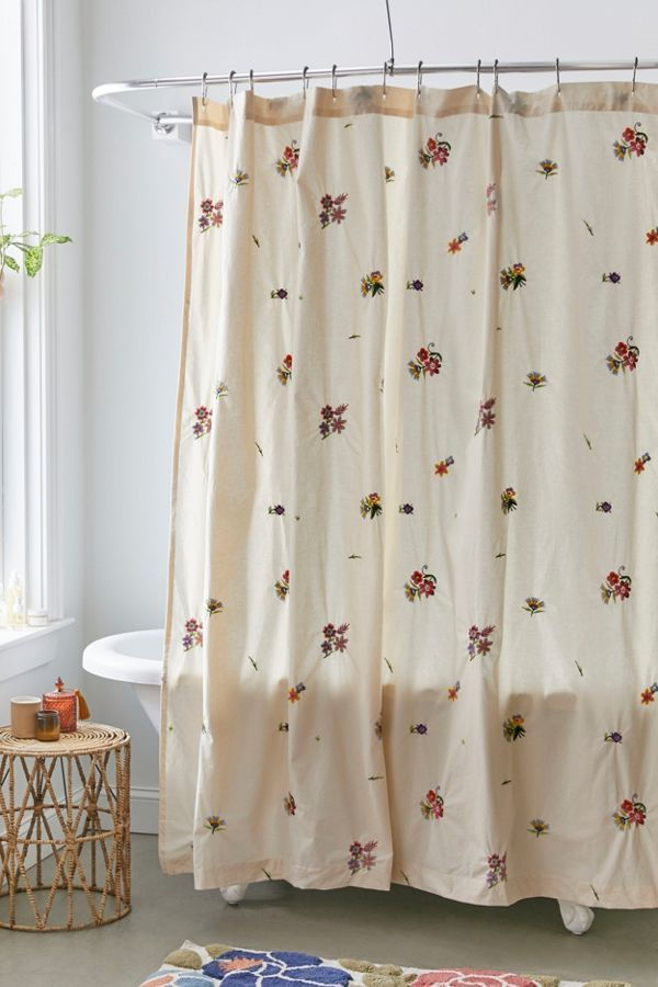 Georgine Embroidered Shower Curtain In 2020 Urban Outfitters