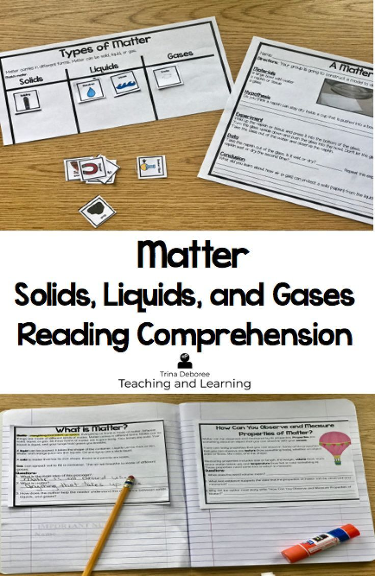 Matter Solids Liquids And Gases Contain The Properties Of Matter Matter Activities Science Reading Comprehension Science Reading Science Teaching Resources [ 1131 x 736 Pixel ]
