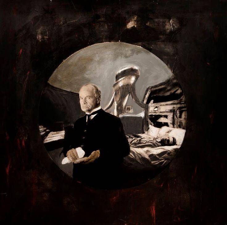"İsmet Doğan ""My Father As Antony Hopkins"" 2006 Pathriarchal Series Mixed Media on Canvas170x170 cm  #art #artist #contemporary #contemporaryart #contemporaryartist #ismetdogan"