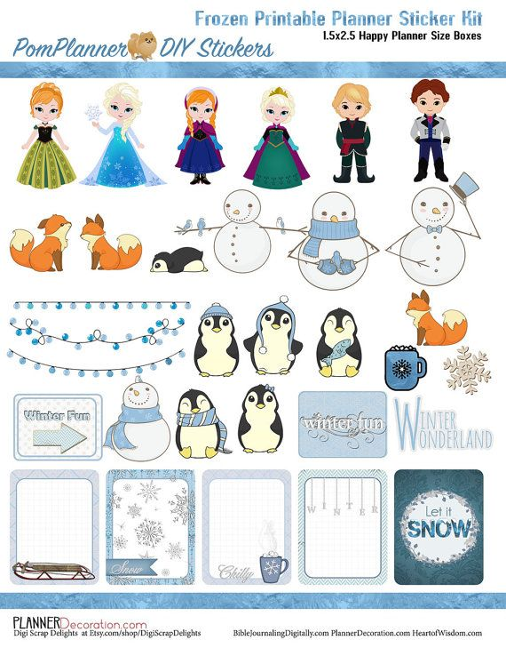 Frozen Printable Planner Kit  5 PDFs, Over 300 Icy Stickers EC or Happy Planner, Blue, Snow, Penguins, Foxes, Snowmen, Princess, Winter,  Icons #Plannerlove #plannerstickers #pomplanner
