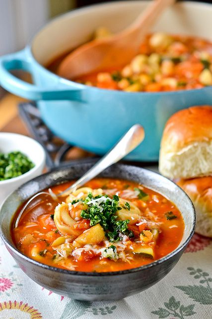 Smokey Minestrone with Tortellini & Pesto