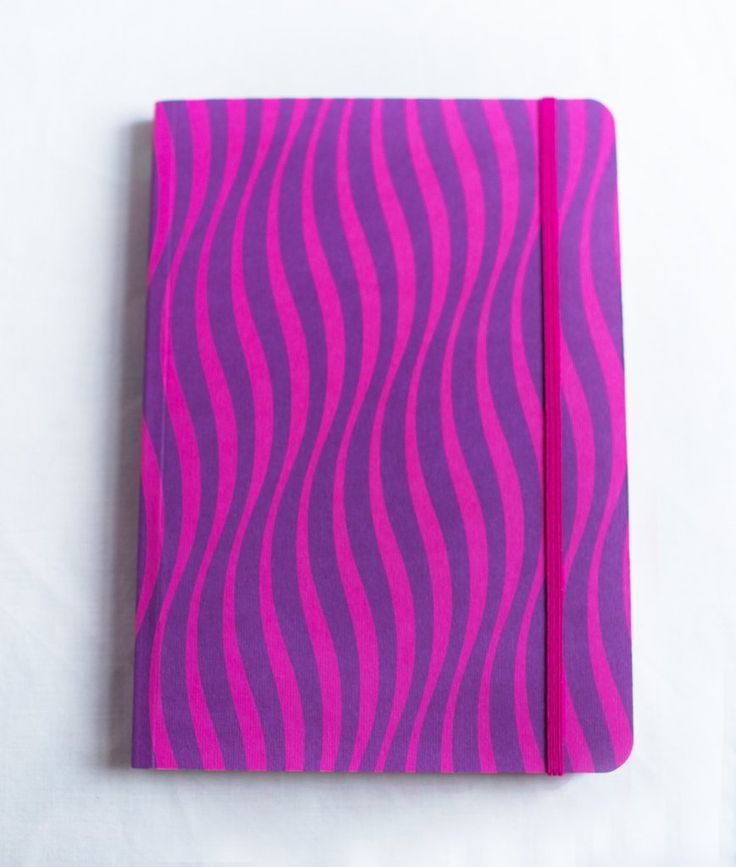 Pink and Purple Waves A5 Notebook.