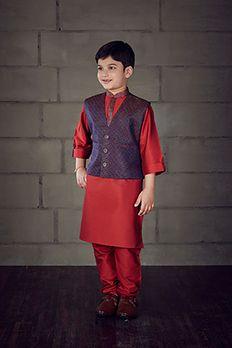 Silk kurta churidar with brocade jacket embellished with zari work by #Benzer #Benzerworld #Kidswear #KurtaForKids #Jacket