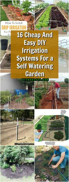 16 Cheap And Easy DIY Irrigation Systems For A Self Watering Garden #gardening #watering #diy #irrigation #selfwatering via @vanessacrafting