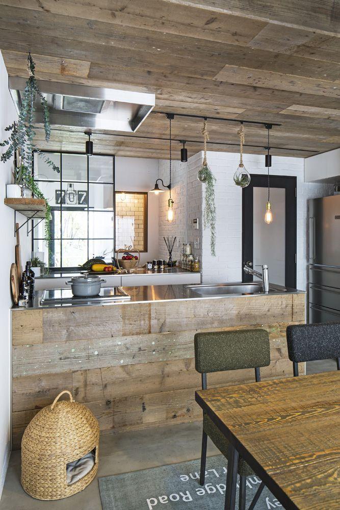東京リノベ リノベーション リビングルーム 中古マンション モルタル床 古材風 アイアン Kitchendesign In 2019 Kitchen Design Kitchen Remodel Interior Design Kitchen