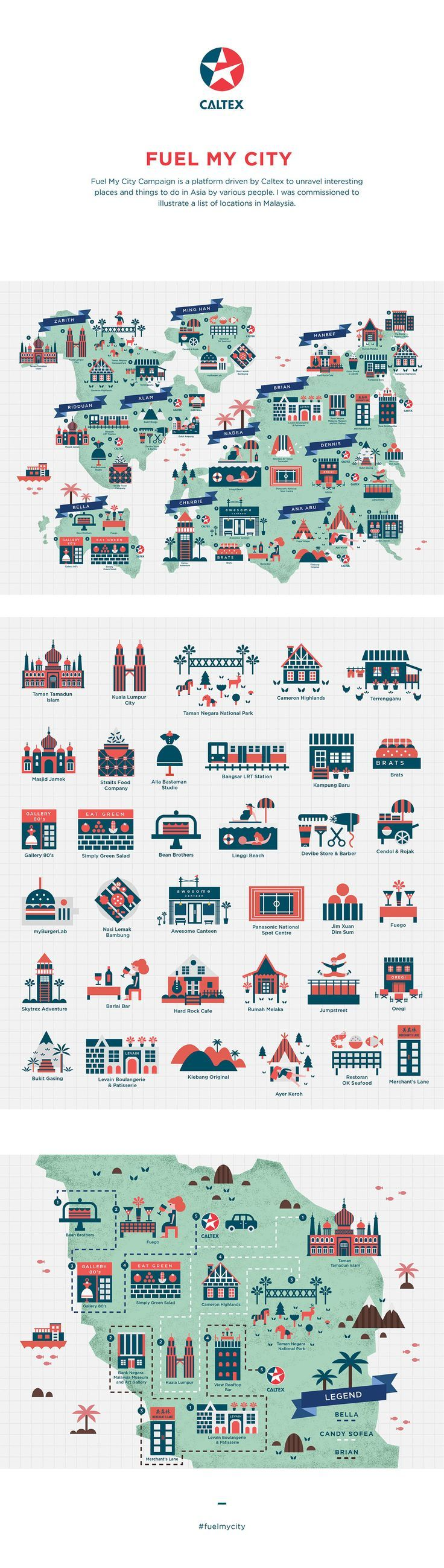 Ever wanted to make a map of Malaysia? These symbols would go well with it! Map Illustration - Caltex Malaysia on Behance