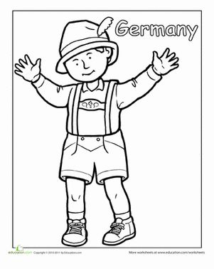 First Grade People Community & Cultures Worksheets: German Traditional Clothing Coloring Page Worksheet