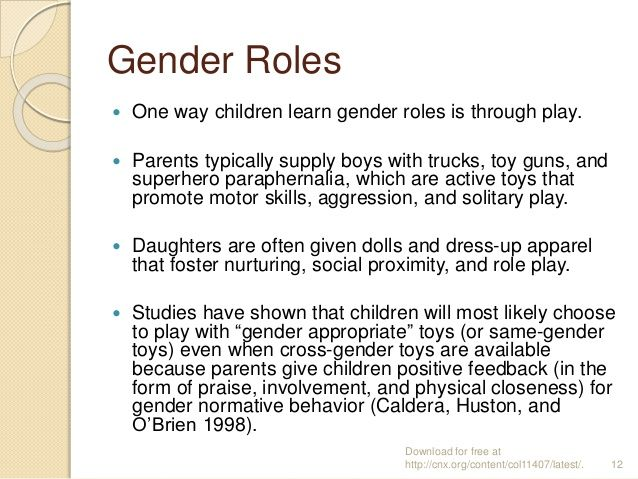gender play childhood influences A summary of gender socialization in 's socialization  boys are raised to  conform to the male gender role, and girls are raised to  influence of biology.