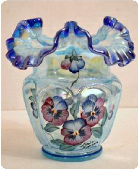 Fenton opalescent open heart/ painted pansies vase