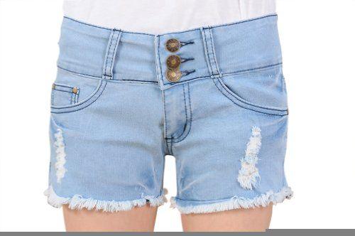 Womens Frayed Hem Loose Shorts Jeans Denim Pants Asian 31 Light Blue