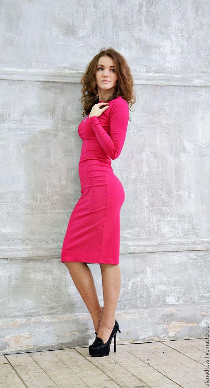 Купить Облегающее платье ,платье чулок - фуксия, однотонный, купить платье облегающее