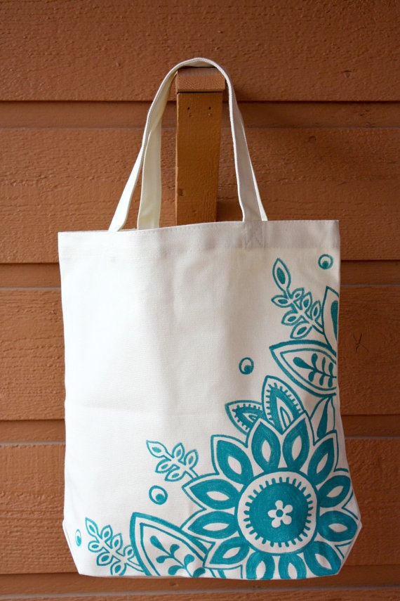 Cream and Aqua Tote Bag Book Bag Beach Bag by ibleedheART on Etsy, $18.00