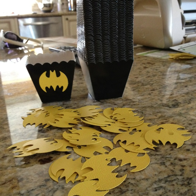 Batman boxes for birthday party favors.