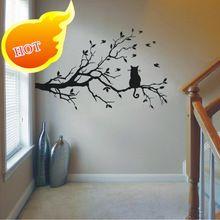 Kat Op Boomtak Vogels Vinyl Muursticker Muur Art Decoratieve Stickers, Glazen Raam Sticker Keuken Muurstickers Home Decor(China (Mainland))