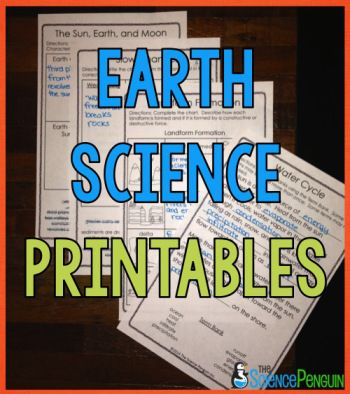 Earth and Space Science Printables for erosion, water cycle, solar system, and more! $-- Great for test prep!