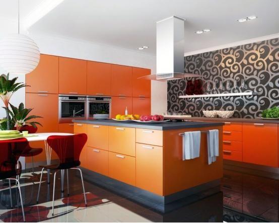Оранжевая кухня Анионита  из пластика в стиле модерн – отличное решение для просторного современного жилища http://www.mebel-zevs.ru/kukhni/kuhnja-183