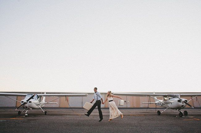 travel engagement session. Oh my. I love this. old suitcases, heels, cessnas