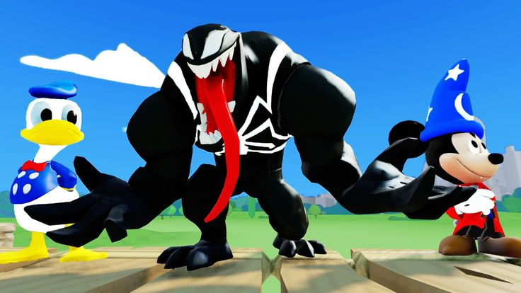Scary Venom with Mickey Mouse and Disney's Donald Duck in sipder man