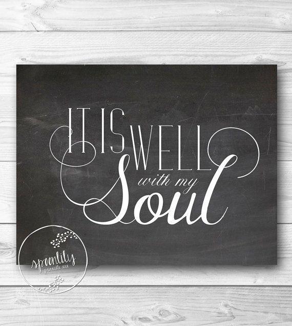 Bible Verse Art print, Scripture wall art decor, Calkboard style, nursery bible verse - It is well with my soul - 8x10 WALL ART