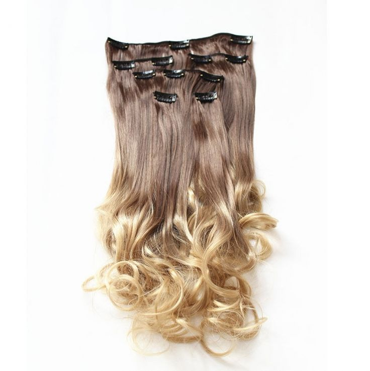 Synthetische clip in hair extension set / Ombre blonde #8/25 / 55 cm
