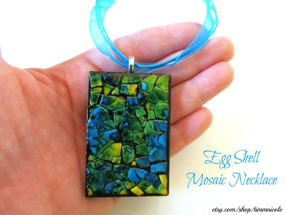 Egg Shell Mosaic Necklace by TimmNicole on Etsy, $12.50