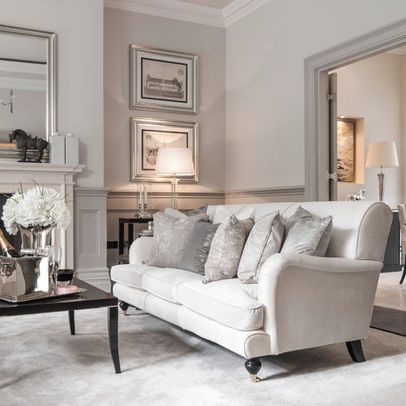 So love this look Traditional glam English Roll Arm Sofa