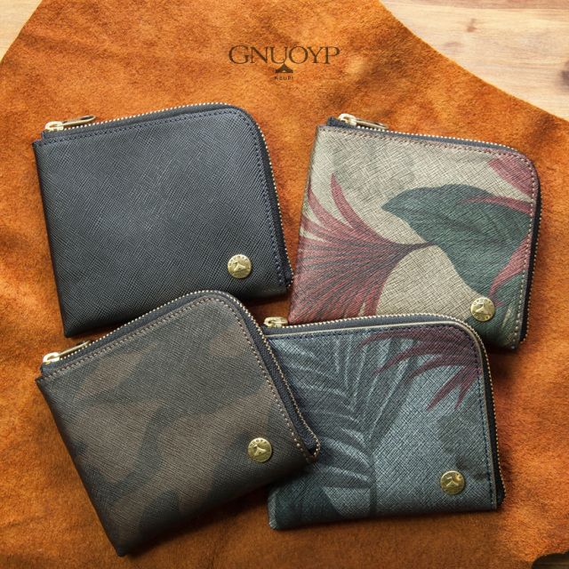 GNUOYP ニュピ サフィアーノ型押し 財布 ショートウォレット スプリットレザー メンズ 男性用 小銭入れ有り 迷彩 カモフラ 日本製