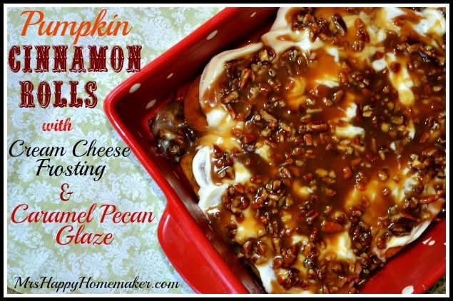 Check out Pumpkin Cinnamon Rolls with Cream Cheese Frosting & Caramel ...