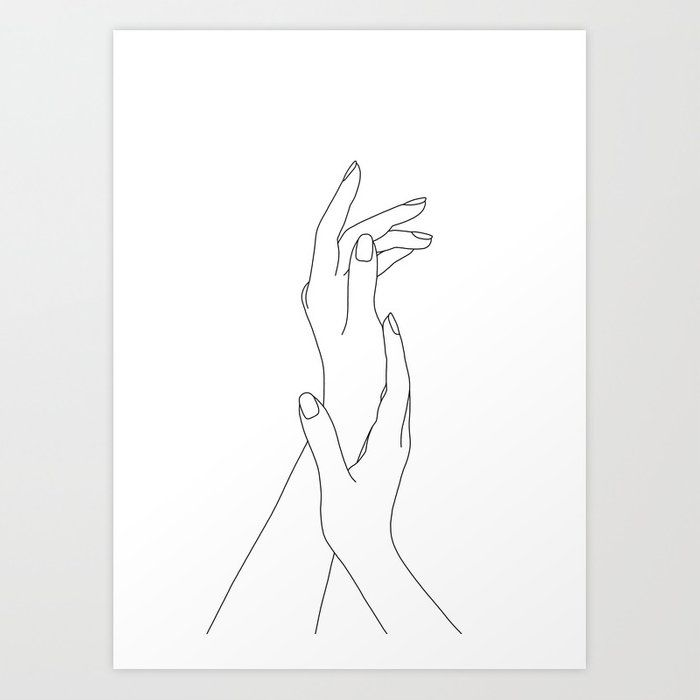 Buy Hands line drawing illustration – Dia Art Print by thecolourstudy. Worldwide… – Betti Bo