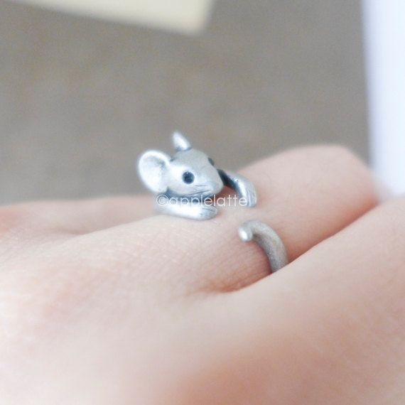 mouse ring mice ring animal ring antique silver ring by applelatte, $10.00