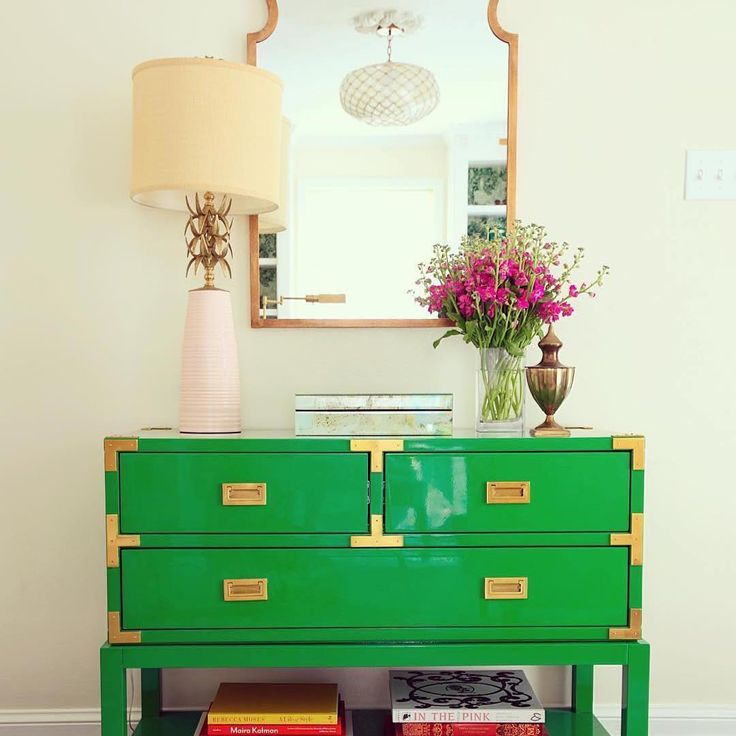 """""""May your day be touched by a little Irish luck #LVMkt exhibitor @bungalow5's laquer Tansu Console is bright and bold in this design project from…"""""""