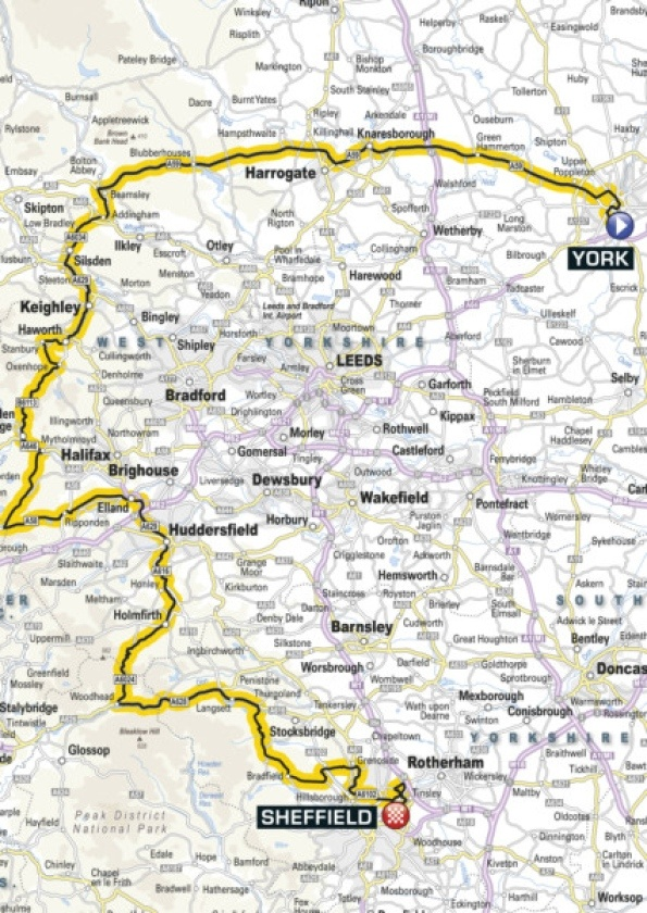 Map of Stage 2 Grand Depart Tour de France 2014 #Yorkshire