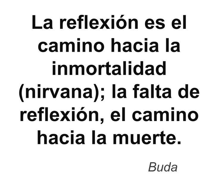 La reflexión es el camino hacia la inmortalidad (nirvana); la falta de reflexión, el camino hacia la muerte. #Buda