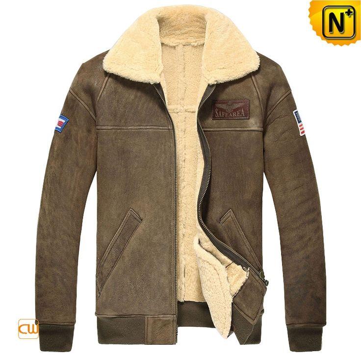 Mens Shearling Sheepskin Bomber Jacket CW860121 $1595.89 - www.cwmalls.com
