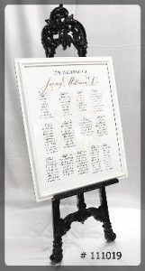 Easel Black  63 inch with seating chart  111019