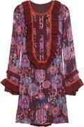 Anna Sui Knit-Trimmed Printed Silk-Blend Chiffon Dress