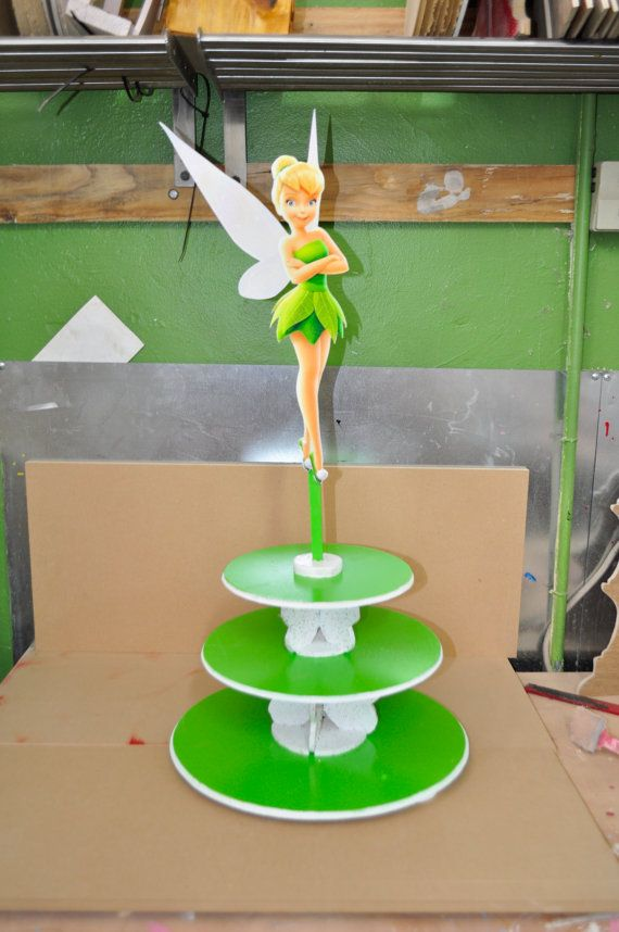 Tinker Bell Cupcake Stand Tinkerbell Centerpiece by SOUTHFLOWER