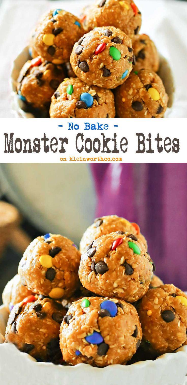 Monster Cookie Bites are an easy no-bake dessert that any M&M lover will ask for time & time again. Oats, peanut butter & honey make these a great snack! So easy to make too. Get the kids in there to help.