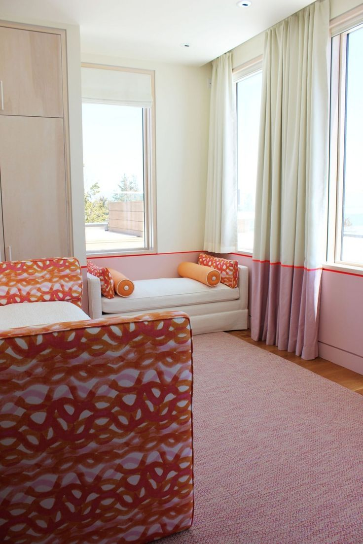 Girls Bedroom - Custom Drapes with Border and Bed and Pillows in Christopher Farr Fathom