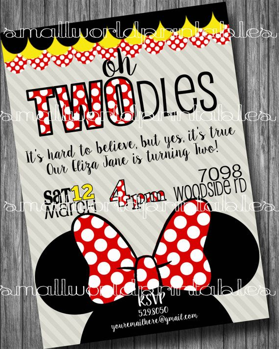Oh TWOdles Invitations Minnie Mouse Girls Birthday Party Printable Or Printed With Envelopes 5x7 4x6 Red FREE Thank You Card W Digital