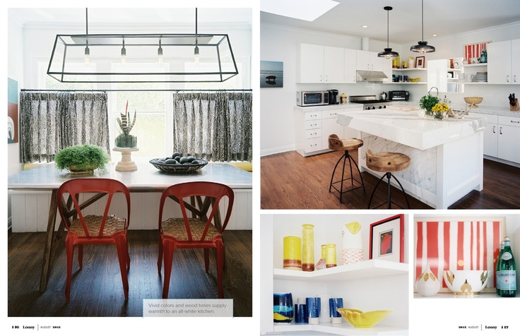 Perfect kitchen--light and airy, great barstools, great mix of cabinets and open shelving.