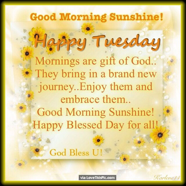 Good Morning Sunshine Happy Tuesday