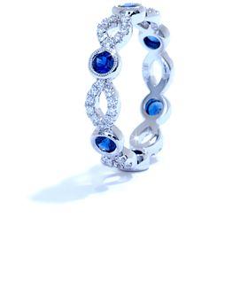 Sapphire and diamond stackable band by Ascot Diamonds #ascotdiamonds