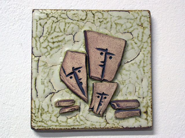 """'People"""". Stoneware plaque for the wall."""