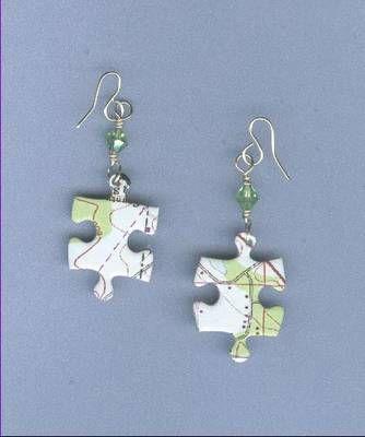 Puzzle Piece Brass & Crystal Earringshttp://jewelrymaking.about.com/od/fibermixedmediajewelry/ss/071108.htm